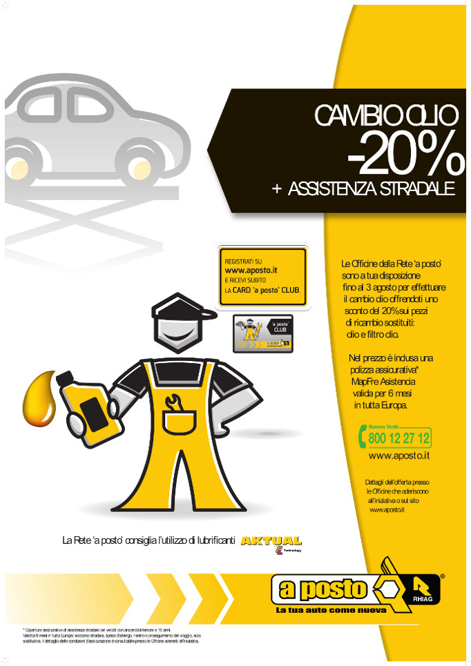 Cambia l'olio alla tua auto e risparmi il 20%